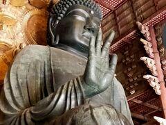 いよいよ東大寺盧舎那仏像と対面!聖武天皇の発願により当時の日本の人口の半分にあたる延べ260万人が作成にあたったそうです。明日見る飛鳥大仏は日本最古の大仏で豪族のプライベート大仏。そこから150年を経て中央集権国家となりこちらは飢饉や疫病や戦禍などの困難を乗り越えるためみんなで作った国民的大仏、と見ると更に楽しいです!駒澤大学村松先生の番組見ておいてよかった…(本当は飛鳥大仏を先に見たかったのですが行程に無理があるので断念しました。) 大きさももちろんですが幾多の困難をのりこえ今ここにどっしりと座っている姿にコロナ禍の苦しみも終わるもの、きっと大丈夫だ、と手を合わせながら思いました。