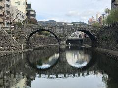 袋橋と眼鏡橋の間にある飛び石から見たところが一番綺麗に眼鏡の形に見えました。