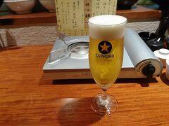 ホテルで仮眠したり、日本シリーズを見たりして予約した時間になりましたのでお店へ向かいました。 今回はどうしても福岡では水炊きが食べたかったので、博多水炊き 大和さんを予約しました。先ずはビールからスタートです。