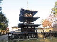 三条通りに出て、興福寺境内のはずれに建つ三重塔を見に行きました。北円堂とともに興福寺に現存する最古の建物です。訪れる人が少なかったです。国宝であるにもかかわらず、同じ境内に高くそびえる五重塔が建っているため、注目度が低いように感じられる可哀そうな三重塔です。