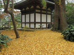 臨春閣と池を挟んで建つ旧天瑞寺寿塔覆堂です。彫り物が美しいお堂ですが、この時期、後ろのイチョウの黄色い落葉が地面を埋め尽くし覆堂をより美しく見せていました。天女の彫り物の精巧さとイチョウの落葉がみごとでした。