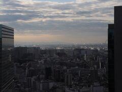 翌朝、7時半起床。 C棟とセントラルタワーの間から羽田空港。