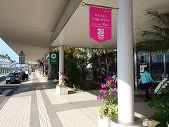 宮崎空港駅に行くには空港の外に出る必要があります。宮崎は11月の半ばにも関わらず暖かかったです。空港を出たら南国の風景でした。