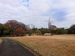 宝物殿前まできました。 芝生の広場や池などがあります。
