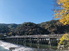 30分の船遊びのあと 嵐山と渡月橋の写真を撮りに  うぅ~ん色づいているとは言えない