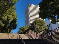 駅の脇には並木へ続く階段