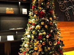<三井ガーデンホテル神宮外苑の杜プレミア> チェックイン ロビーにはクリスマスツリー♪