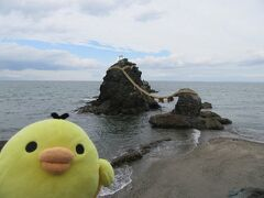 夫婦岩です。 思ったより大きく感じます。  ご利益ありそう!!  ここまでよんでいただきありがとうございました。
