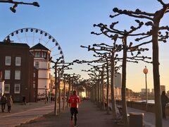 Rheinuferpromenade(ラインウーファープロメナーデ)  ライン河畔の遊歩道。冬の晴れ間には日光を浴びてビタミンDを生成。