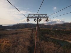 左に芦ノ湖、右に富士山