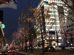 御堂筋イルミネーション オフィス街から南~難波方面は、シャンパンゴールドに彩られていました。