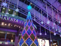 JR博多駅前の大きなクリスマスツリー