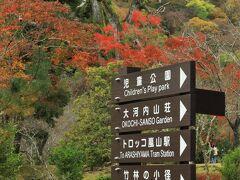 旅の目的のひとつだった祐斎亭の見学を終え上機嫌で嵐山公園へ
