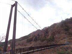 11:31 = 鬼怒楯岩大吊橋 = 鬼怒川温泉の南部と名勝'楯岩'を結ぶ全長約140メートルの歩道専用吊橋です。 渡ってみましょう。