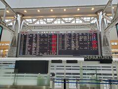成田空港のラウンジに休憩がてらの第二ターミナル寄り道、運航案内の国際便はコロナの影響で殆どが欠航です。