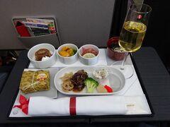 機内食&シャンパン