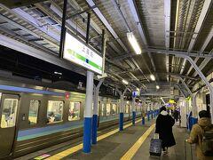 どうにか上諏訪駅に到着。 ここも寒い!!