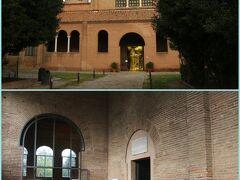 バス停から徒歩数分の『サンタポリナーレ・イン・クラッセ聖堂』に やって来ました。  写真左手はチケット売り場兼ショップで 右側が見学する聖堂の入口です。  5ヶ所共通券の対象外なので別途でチケットを購入。 ※入場料は5ユーロ