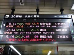 乗るのは東北新幹線なすの253号。発車の30分以上前に上野駅に到着しました。 表示されてるのは全て東北新幹線ですが、他にも北陸新幹線、上越新幹線なども勿論上野駅を通って行きます♪ にしても、色んな新幹線が有りますねぇ