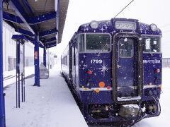 雪がキラキラ光ってるのか、それとも列車の柄なのか区別がつかないですが(笑)、おそらくその両方です。