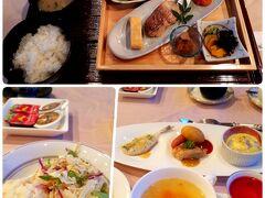 ホテルの朝食。夫は和食で私は洋食。  ホテルの朝食は量もあって美味しかったけど、唐戸市場の食堂で食べたかったなあ・・・心残り。
