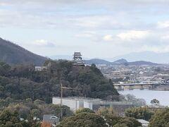 犬山成田山 本堂境内から犬山城を臨む