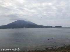 またまた、桜島にこんにちは~(^^)。 この日は、少し曇っていました。