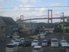 で、戸畑駅付近にて、再度若戸大橋の遠景を眺めつつ…。