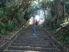 近くに名護城跡があったので行ってみました。階段を上って。。。