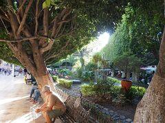 ウニオン庭園 ファレス劇場、サンティアゴ教会前にある公園 大きくはありませんがたっぷり木陰を提供してくれます 夜は屋台や大道芸が現れ昼よりも賑やかになります 一角にツーリスト案内あり