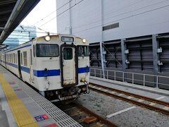 熊本駅から乗車するのは豊肥本線です。 乗車した編成はキハ147 1044でした。