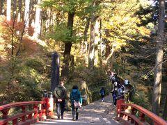 榛名川に架かる「みそぎはし」を渡って、杉が立ち並ぶ参道を進みます。