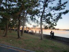 野島山の北側の、旧伊藤博文金沢別邸の建つ海岸沿いの松林に、密を避けて日昇を待つ参拝者が多数。 海岸には横浜市では唯一となった海苔のひびが見え、横浜市内陸部や北部には無い優れた景観である。