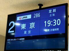 JAL286便 出雲19:30ー羽田20:55着で帰京です。