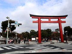 鶴岡八幡宮の真っ赤な鳥居はいつ見ても格好良いですね。 スクランブル交差点にドン!!と構える立派な鳥居って感じで風格が見事!