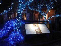 「旧リンガー住宅」 青色のイルミネーションで輝いていました。