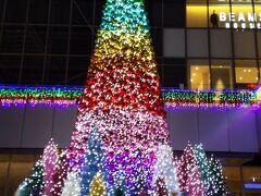 名古屋駅に戻ってカラフルなツリーを見て。