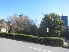祝田通りの向こう側には日比谷公園