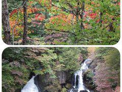 「竜頭の滝」と始まったばかりの紅葉を楽しんで‥