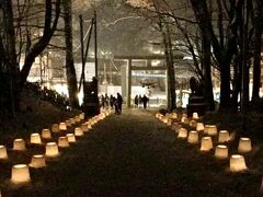 定山渓神社で開催されている雪灯籠。 ワクワクしてきました。
