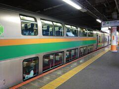 まずは大船駅から東海道線に乗って大宮駅を目指します。長旅になりますのでグリーン車です。