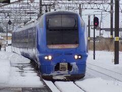 あっ! 特別急行列車が来ましたよ。