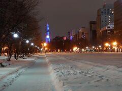 2日目夜 仕事が終わってから大通公園をテレビ塔に向かいテクテク 歩いている人は少なく、横断歩道の道路は凍っているけど公園内通路は雪なので ザクザクと歩けたのであっという間  雪の上を歩くなって何年振りだろう