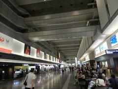 19:00過ぎに羽田空港のロビーに来ました。 私たちの乗る便は21:10発なので2時間ほどの余裕があります。