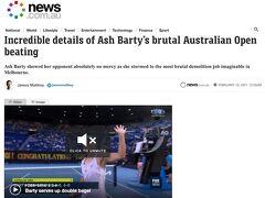 2月8日、全豪オープンが予定どおり開始しました。約2週間、毎日最大30000人が観戦に集まります。2020年3月に当日に突如中止が決まったF1メルボルングランプリ以来、久しぶりの大規模スポーツイベントが再開できるとは感動的です。現在女子世界一位のオーストラリアのアッシュ・バーティも順調に初戦を勝利。観客は定員の50%まで許可されていますが、人気のアッシュ・バーティの試合でも実際の入りは25%位でしょうか。無観客よりはマシですが、大きな盛り上がりの雰囲気からはほど遠いです。  Source: https://www.news.com.au/sport/tennis/australian-open/incredible-details-of-ash-bartys-australian-open-humiliation/news-story/2639e5cb4c5e761bffda0a8eb87def54