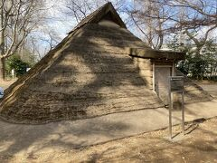 思う存分遊んだ後、またどんどん歩いて行き、「松ノ木遺跡復原住居」に到着。 近くで発見された古墳時代の住居址から再現したものだそうです。 これ自体は、コンクリートか何かでできています。