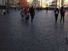 ナヴォーナ広場はこんなに広いです。  というのも、ローマ帝国時代に競技場としてつくられ、17世紀にバロック様式にリニューアルしました。  楕円形のトラックがあり、その周りには観客席もあったそうです。  だから長方形の広場なんです。