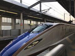 「はくたか568号」で東京へと帰ります。やってきたのは新潟新幹線車両センター所属のF29編成です。2021年2月時点ではE7で1番新しい編成です。