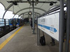 名取から10分で仙台空港到着。 仙台空港駅は頭端式の島式ホーム1面2線。
