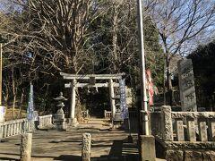 ふれあいの森の東の端にある熊野神社の鳥居 鳥居の先の階段を上った先に社殿があります